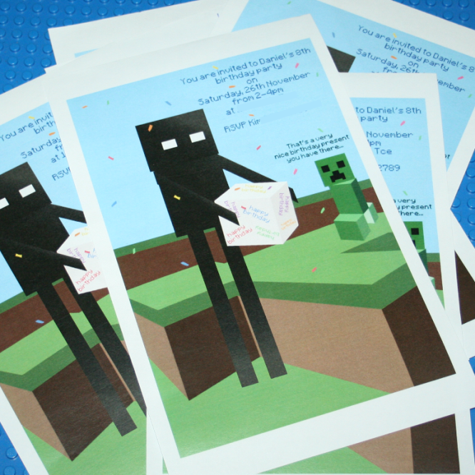 Free Printable Birthday Party Invitations-Minecraft